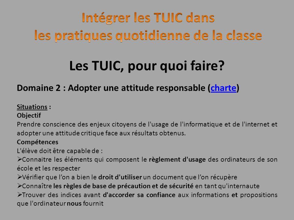 Les TUIC, pour quoi faire? Domaine 2 : Adopter une attitude responsable (charte)charte Situations : Objectif Prendre conscience des enjeux citoyens de