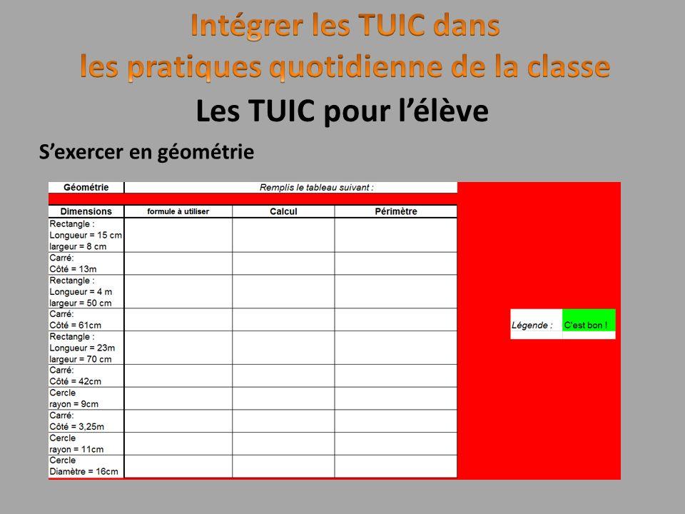 Sexercer en géométrie Les TUIC pour lélève