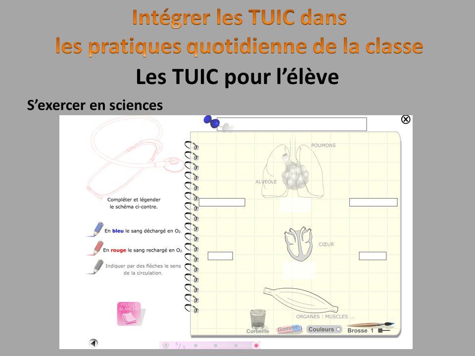 Sexercer en sciences Les TUIC pour lélève