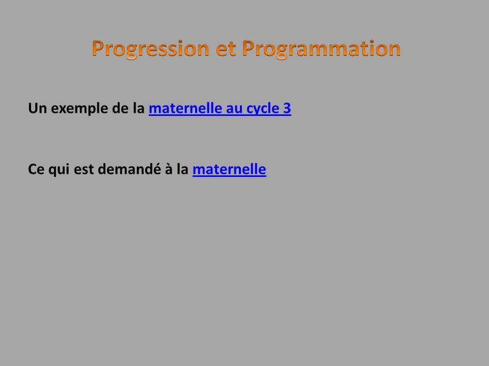 Un exemple de la maternelle au cycle 3maternelle au cycle 3 Ce qui est demandé à la maternellematernelle