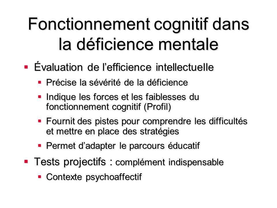 Fonctionnement cognitif dans la déficience mentale Évaluation de lefficience intellectuelle Évaluation de lefficience intellectuelle Précise la sévérité de la déficience Précise la sévérité de la déficience Indique les forces et les faiblesses du fonctionnement cognitif (Profil) Indique les forces et les faiblesses du fonctionnement cognitif (Profil) Fournit des pistes pour comprendre les difficultés et mettre en place des stratégies Fournit des pistes pour comprendre les difficultés et mettre en place des stratégies Permet dadapter le parcours éducatif Permet dadapter le parcours éducatif Tests projectifs : complément indispensable Tests projectifs : complément indispensable Contexte psychoaffectif Contexte psychoaffectif