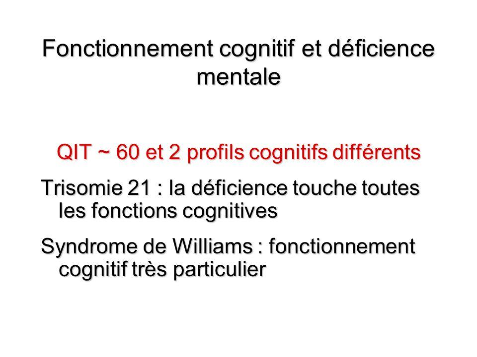 Fonctionnement cognitif et déficience mentale QIT ~ 60 et 2 profils cognitifs différents Trisomie 21 : la déficience touche toutes les fonctions cognitives Syndrome de Williams : fonctionnement cognitif très particulier