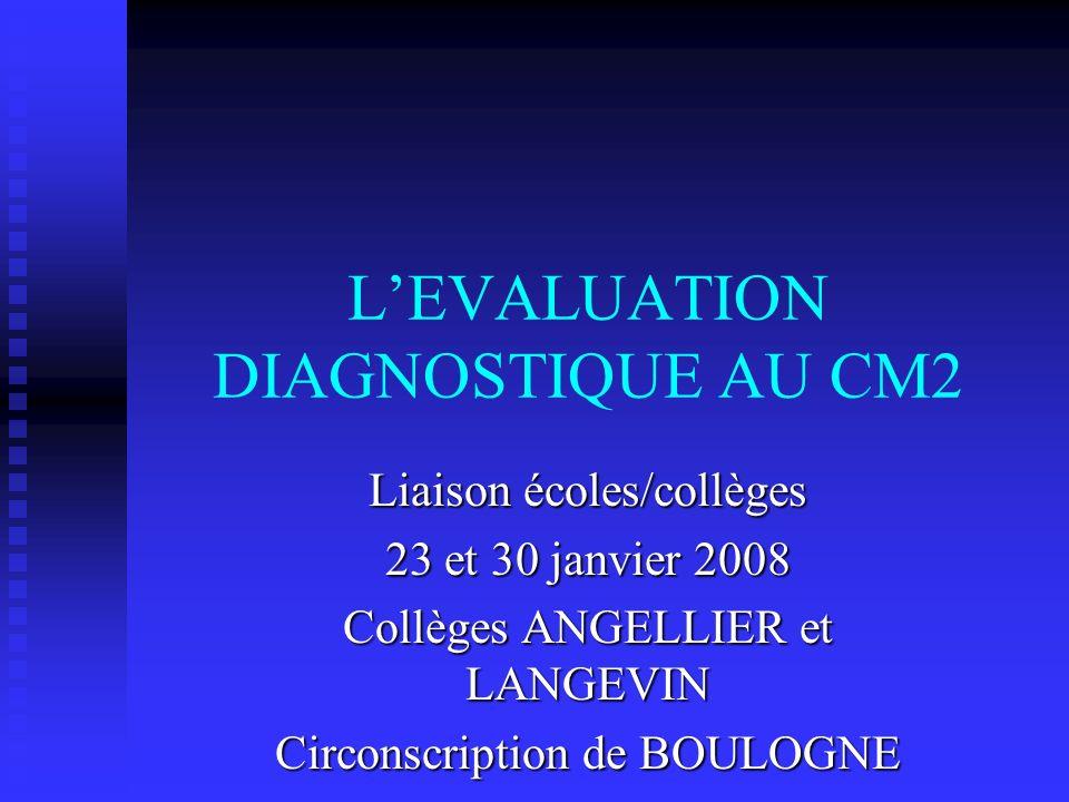 LEVALUATION DIAGNOSTIQUE AU CM2 Liaison écoles/collèges 23 et 30 janvier 2008 Collèges ANGELLIER et LANGEVIN Circonscription de BOULOGNE
