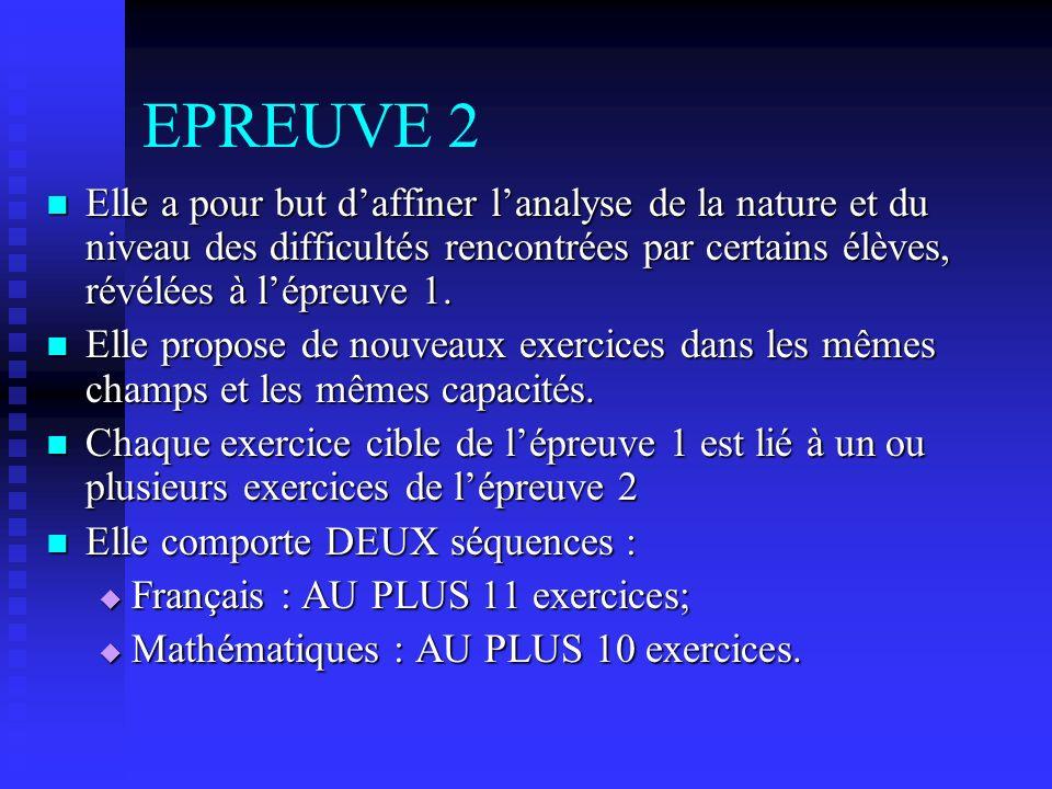 EPREUVE 2 Elle a pour but daffiner lanalyse de la nature et du niveau des difficultés rencontrées par certains élèves, révélées à lépreuve 1.