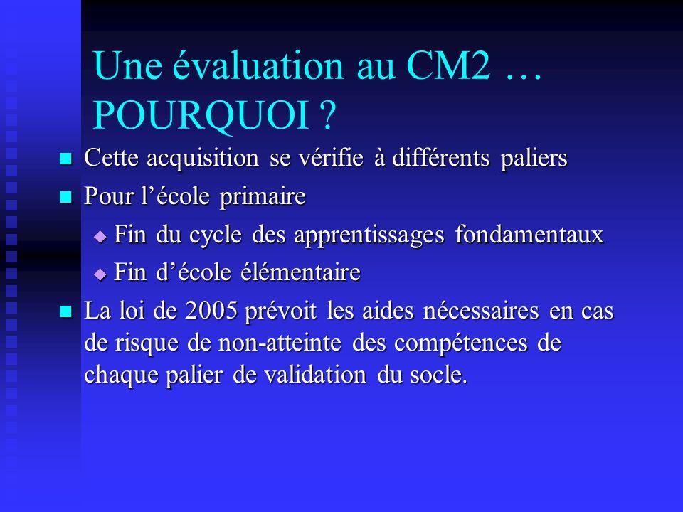 Une évaluation au CM2 POURQUOI .