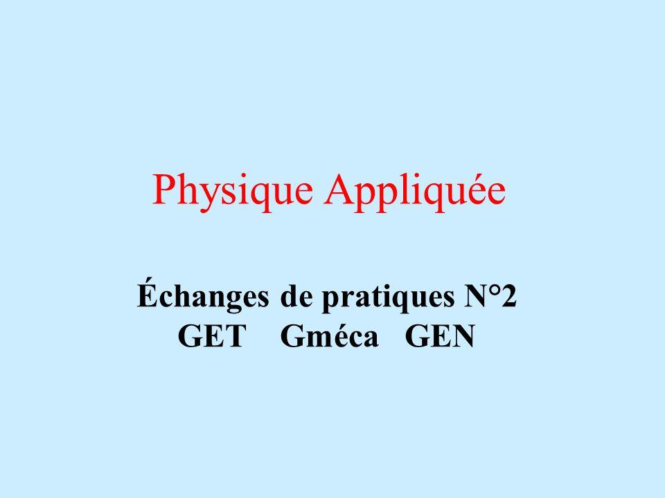 Physique Appliquée Échanges de pratiques N°2 GET Gméca GEN