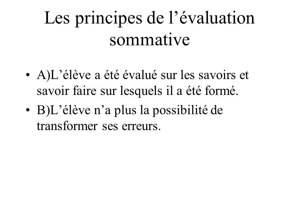 Les principes de lévaluation sommative A)Lélève a été évalué sur les savoirs et savoir faire sur lesquels il a été formé. B)Lélève na plus la possibil