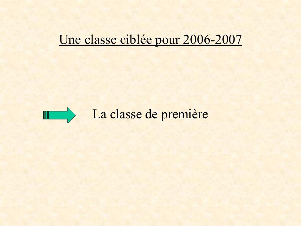 Une classe ciblée pour 2006-2007 La classe de première
