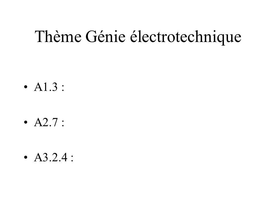Thème Génie électrotechnique A1.3 : A2.7 : A3.2.4 :