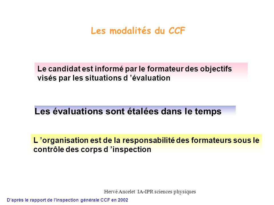 Hervé Ancelet IA-IPR sciences physiques L organisation est de la responsabilité des formateurs sous le contrôle des corps d inspection Les évaluations