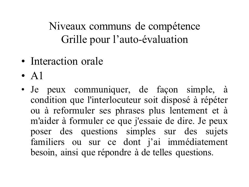 Niveaux communs de compétence Grille pour lauto-évaluation Interaction orale A1 Je peux communiquer, de façon simple, à condition que l'interlocuteur