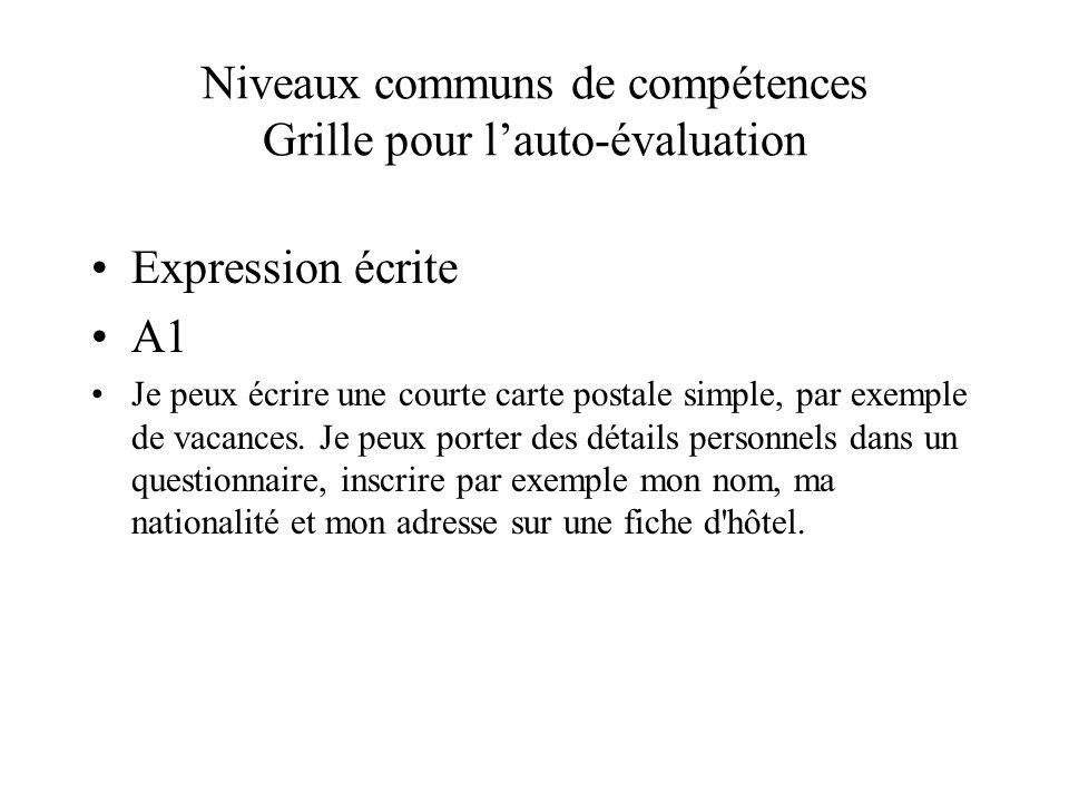 Niveaux communs de compétences Grille pour lauto-évaluation Expression écrite A1 Je peux écrire une courte carte postale simple, par exemple de vacanc