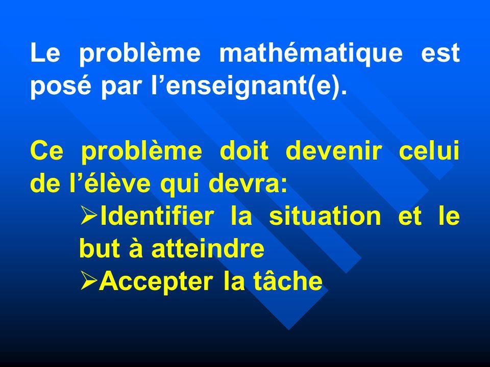 Le problème mathématique est posé par lenseignant(e). Ce problème doit devenir celui de lélève qui devra: Identifier la situation et le but à atteindr