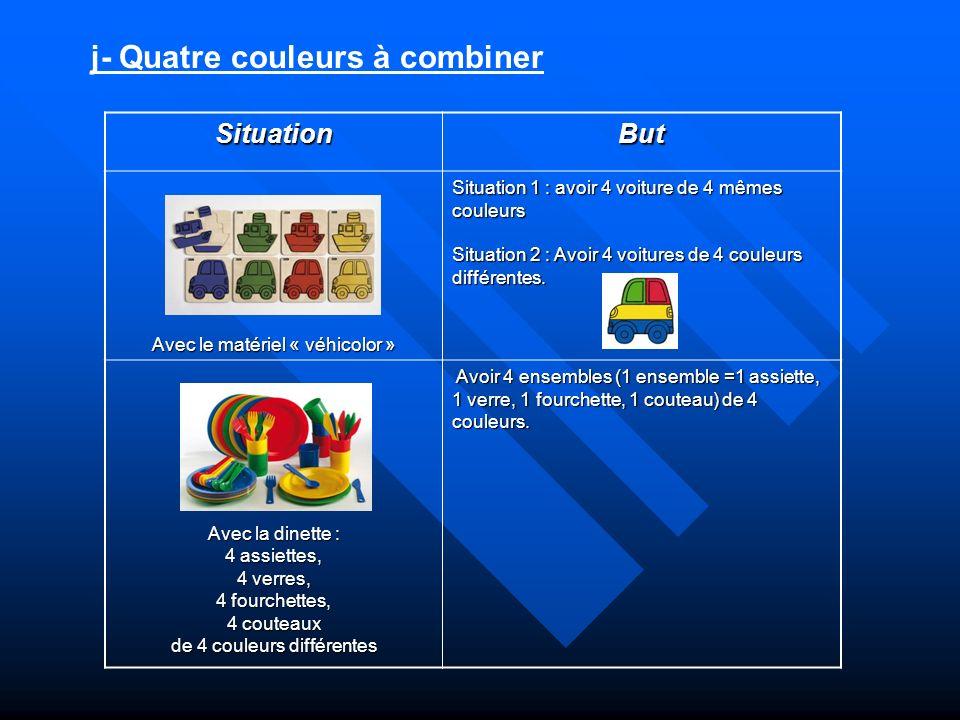 j- Quatre couleurs à combiner SituationBut Avec le matériel « véhicolor » Situation 1 : avoir 4 voiture de 4 mêmes couleurs Situation 2 : Avoir 4 voit