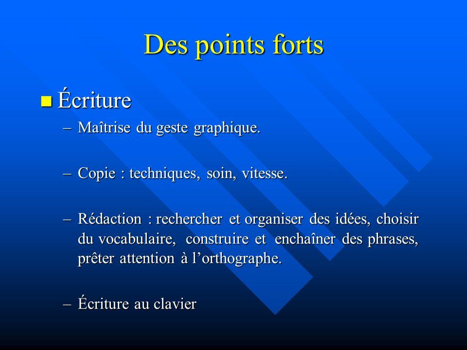 Des points forts Écriture Écriture –Maîtrise du geste graphique.