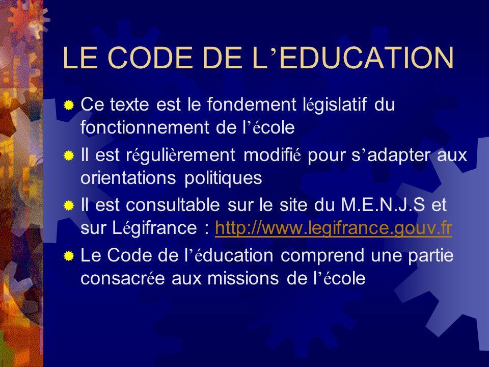 LE CODE DE L EDUCATION Ce texte est le fondement l é gislatif du fonctionnement de l é cole Il est r é guli è rement modifi é pour s adapter aux orientations politiques Il est consultable sur le site du M.E.N.J.S et sur L é gifrance : http://www.legifrance.gouv.frhttp://www.legifrance.gouv.fr Le Code de l é ducation comprend une partie consacr é e aux missions de l é cole