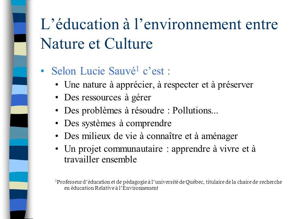 Léducation à lenvironnement entre Nature et Culture Selon Lucie Sauvé 1 cest : Une nature à apprécier, à respecter et à préserver Des ressources à gérer Des problèmes à résoudre : Pollutions...