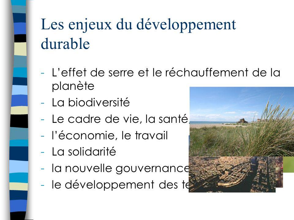 Les enjeux du développement durable -Leffet de serre et le réchauffement de la planète -La biodiversité -Le cadre de vie, la santé, lalimentation -léconomie, le travail -La solidarité -la nouvelle gouvernance -le développement des territoires