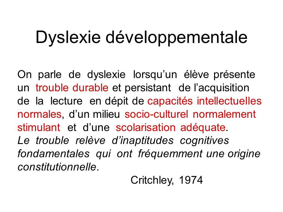 Dyslexie développementale On parle de dyslexie lorsquun élève présente un trouble durable et persistant de lacquisition de la lecture en dépit de capa