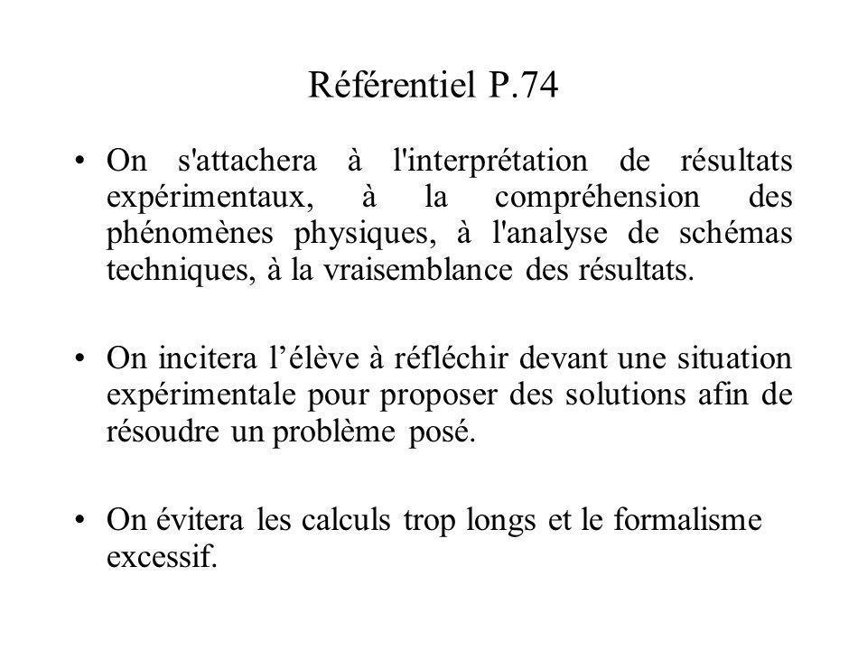 Référentiel P.74 On s attachera à l interprétation de résultats expérimentaux, à la compréhension des phénomènes physiques, à l analyse de schémas techniques, à la vraisemblance des résultats.