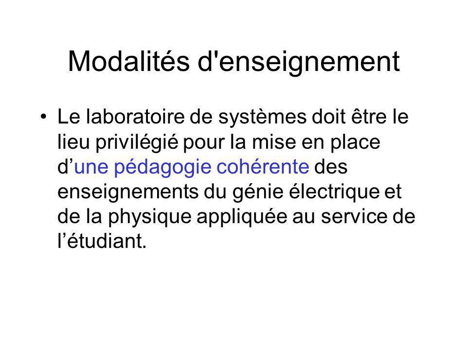 Modalités d enseignement Le laboratoire de systèmes doit être le lieu privilégié pour la mise en place dune pédagogie cohérente des enseignements du génie électrique et de la physique appliquée au service de létudiant.