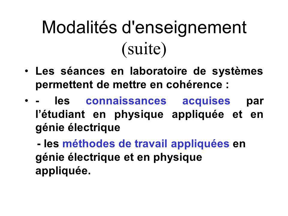 Modalités d enseignement (suite) Les séances en laboratoire de systèmes permettent de mettre en cohérence : - les connaissances acquises par létudiant en physique appliquée et en génie électrique - les méthodes de travail appliquées en génie électrique et en physique appliquée.