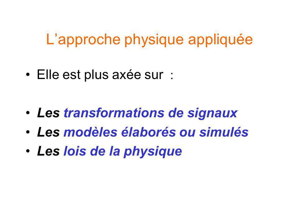 Lapproche physique appliquée Elle est plus axée sur : Les transformations de signaux Les modèles élaborés ou simulés Les lois de la physique