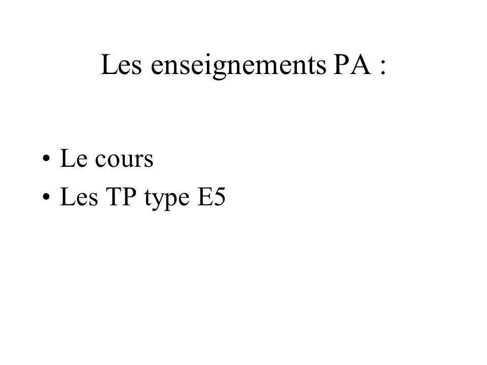Les enseignements PA : Le cours Les TP type E5