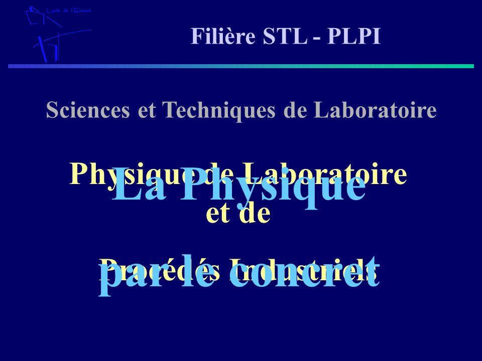 Filière STL - PLPI Sciences et Techniques de Laboratoire Physique de Laboratoire et de Procédés Industriels La Physique par le concret