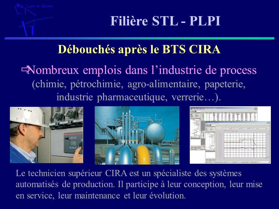 Filière STL - PLPI Nombreux emplois dans lindustrie de process (chimie, pétrochimie, agro-alimentaire, papeterie, industrie pharmaceutique, verrerie…)