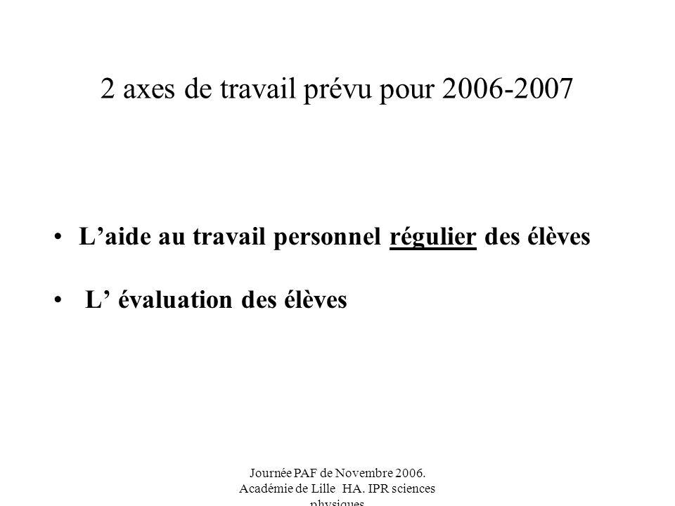 2 axes de travail prévu pour 2006-2007 Laide au travail personnel régulier des élèves L évaluation des élèves