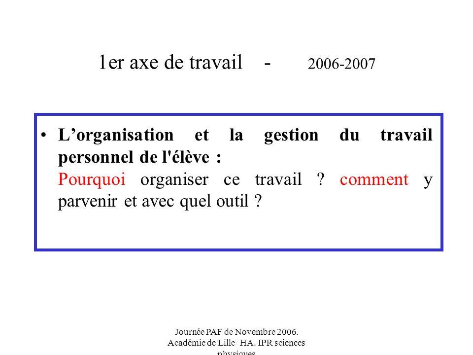 Journée PAF de Novembre 2006. Académie de Lille HA.