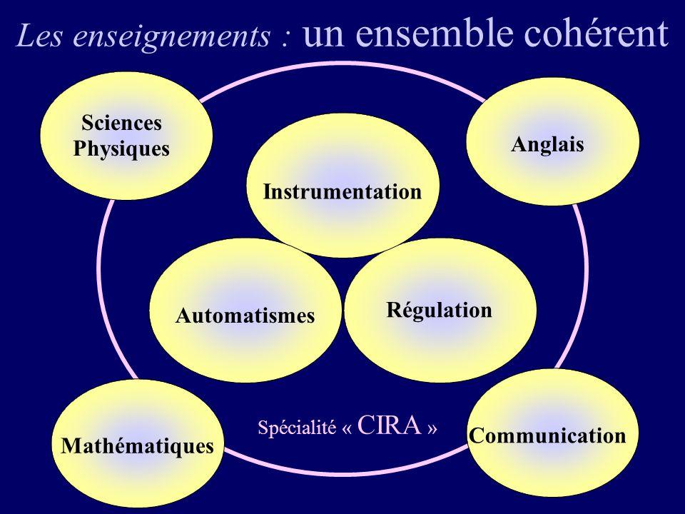 Les enseignements : un ensemble cohérent Régulation Instrumentation Automatismes Spécialité « CIRA » Sciences Physiques Mathématiques Communication Anglais