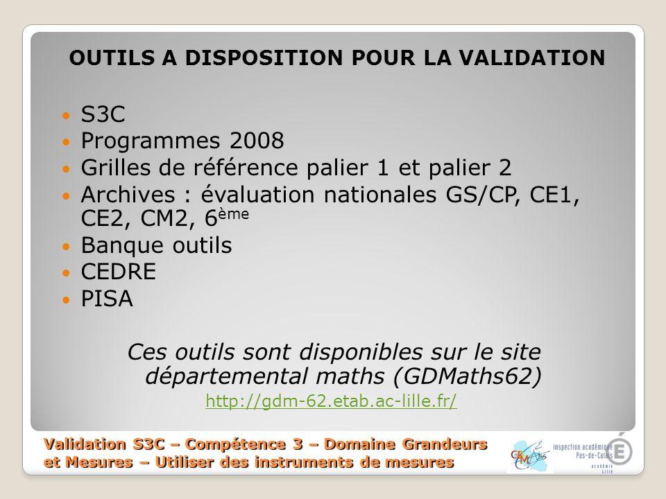 Validation S3C – Compétence 3 – Domaine Grandeurs et Mesures – Utiliser des instruments de mesures OUTILS A DISPOSITION POUR LA VALIDATION S3C Program