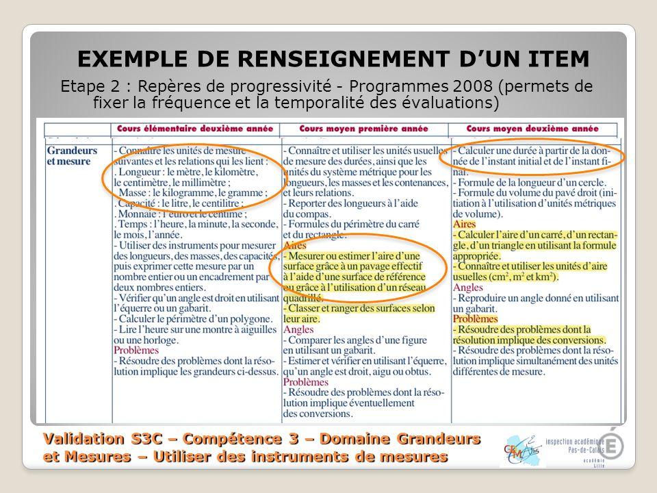 Validation S3C – Compétence 3 – Domaine Grandeurs et Mesures – Utiliser des instruments de mesures EXEMPLE DE RENSEIGNEMENT DUN ITEM Etape 3 : Exemple dexercices dévaluation sur les unités de temps et durées >Source : Banque outils >Temporalité de passation : CE2 >Programmes 2008 : Connaître les unités de mesures et les relations qui les lient : longueurs (m, cm, mm et km), masse (km, g), capacité (l, cl)… >Source : Internet >Temporalité de passation : CM1 >Programmes 2008 : Mesurer ou estimer laire dune surface grâce à un pavage effectif et à laide dune surface de référence >Archive évaluations CM2 2010 >Temporalité de passation : CM2 >Programmes 2008 : Calculer une durée à partir de la donnée de linstant initial et de linstant final.