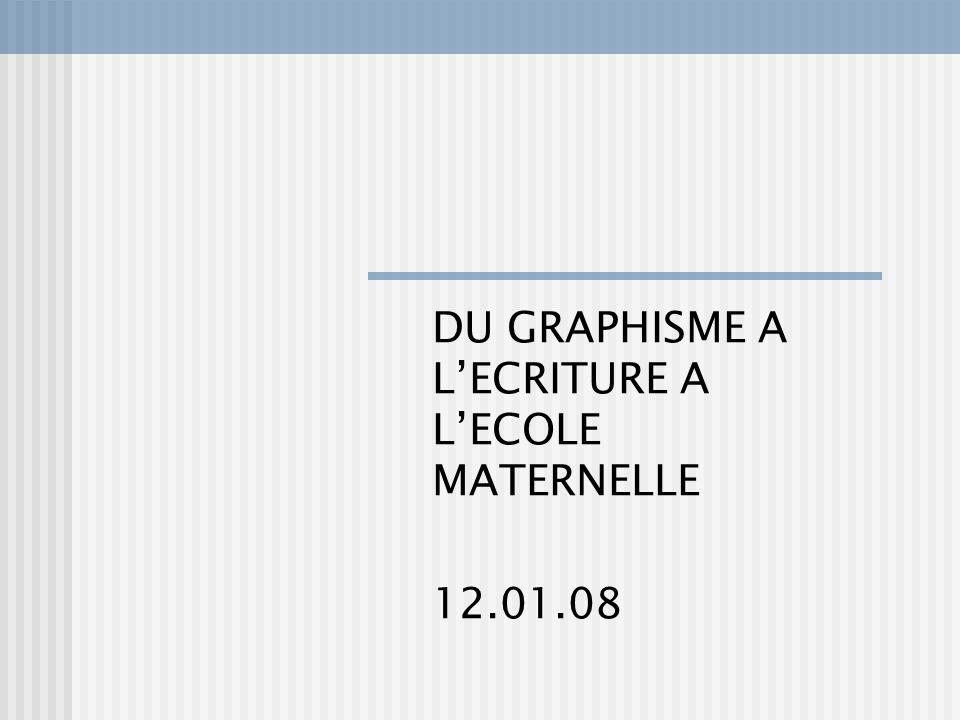 DU GRAPHISME A LECRITURE A LECOLE MATERNELLE 12.01.08