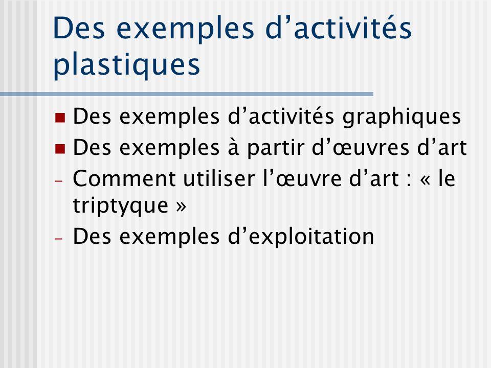 Des exemples dactivités plastiques Des exemples dactivités graphiques Des exemples à partir dœuvres dart - Comment utiliser lœuvre dart : « le triptyq