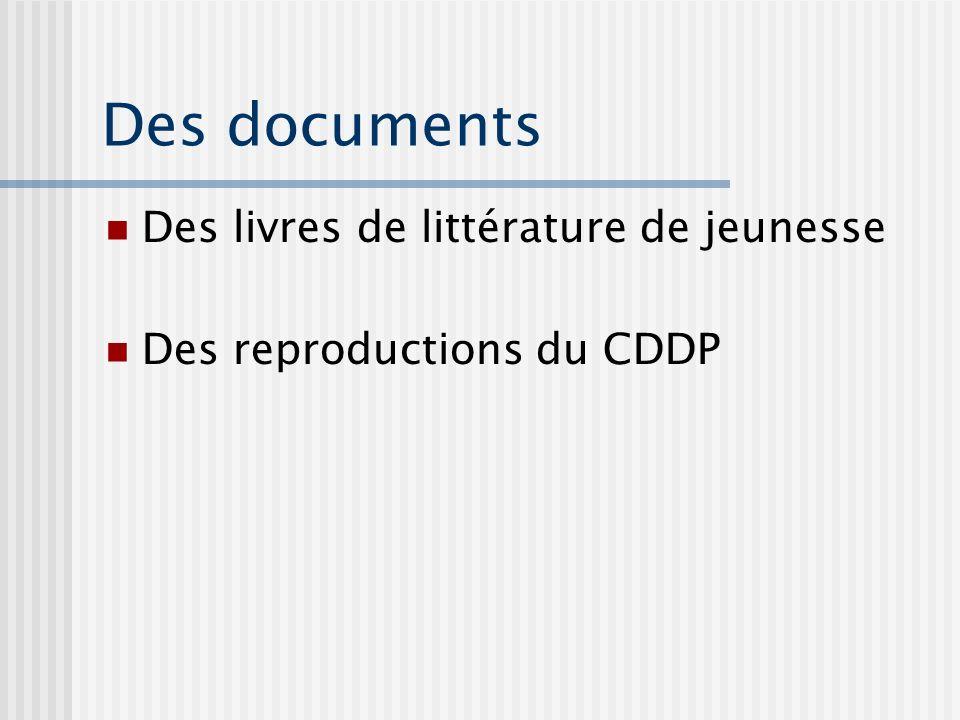 Des documents Des livres de littérature de jeunesse Des reproductions du CDDP