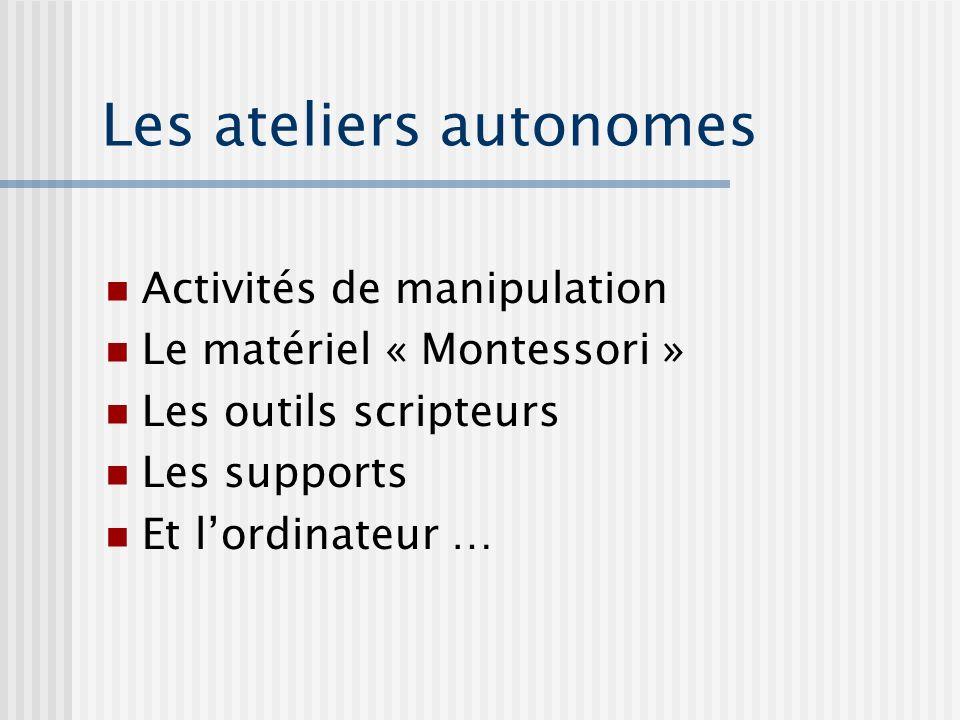 Les ateliers autonomes Activités de manipulation Le matériel « Montessori » Les outils scripteurs Les supports Et lordinateur …