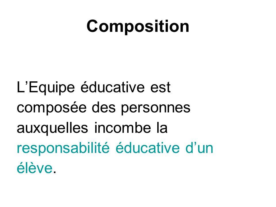 Composition LEquipe éducative est composée des personnes auxquelles incombe la responsabilité éducative dun élève.