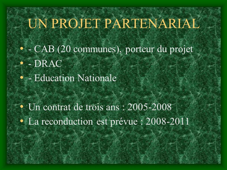 UN PROJET PARTENARIAL - CAB (20 communes), porteur du projet - DRAC - Education Nationale Un contrat de trois ans : 2005-2008 La reconduction est prévue : 2008-2011