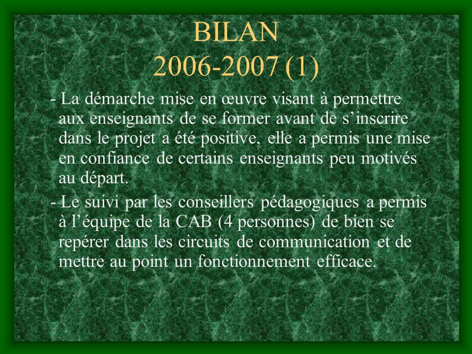 BILAN 2006-2007 (1) - La démarche mise en œuvre visant à permettre aux enseignants de se former avant de sinscrire dans le projet a été positive, elle a permis une mise en confiance de certains enseignants peu motivés au départ.