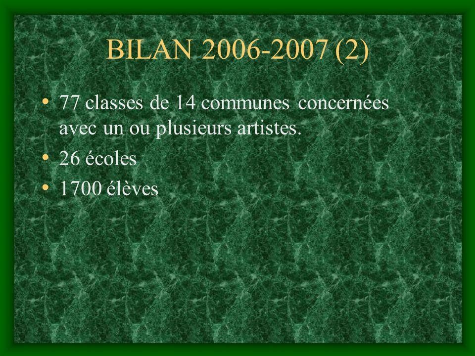 BILAN 2006-2007 (2) 77 classes de 14 communes concernées avec un ou plusieurs artistes.