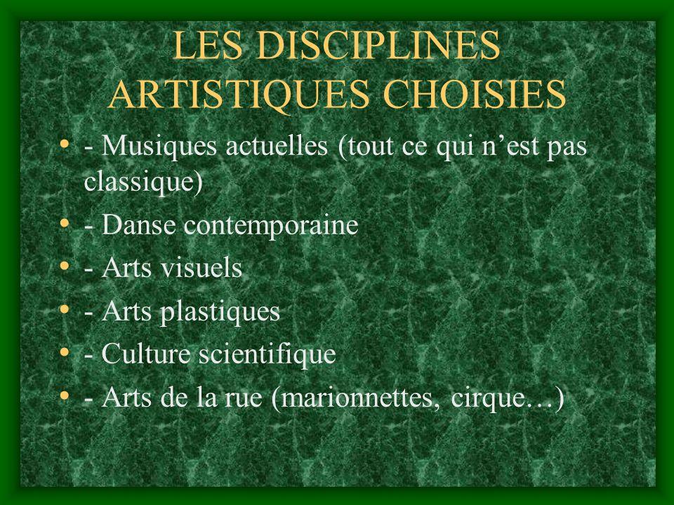 LES DISCIPLINES ARTISTIQUES CHOISIES - Musiques actuelles (tout ce qui nest pas classique) - Danse contemporaine - Arts visuels - Arts plastiques - Culture scientifique - Arts de la rue (marionnettes, cirque…)