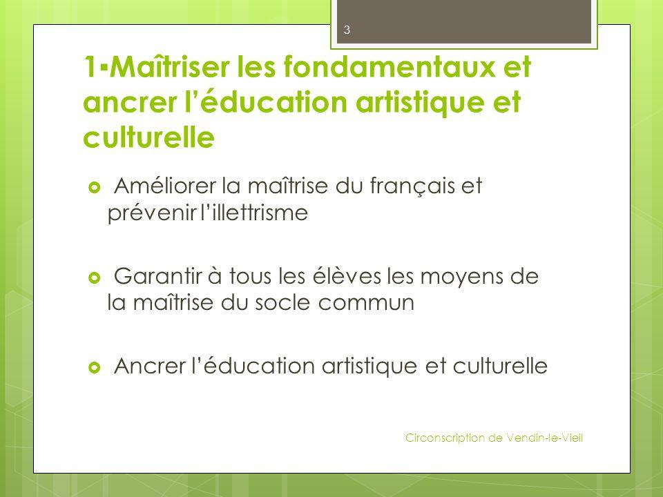 1Maîtriser les fondamentaux et ancrer léducation artistique et culturelle Améliorer la maîtrise du français et prévenir lillettrisme Garantir à tous l