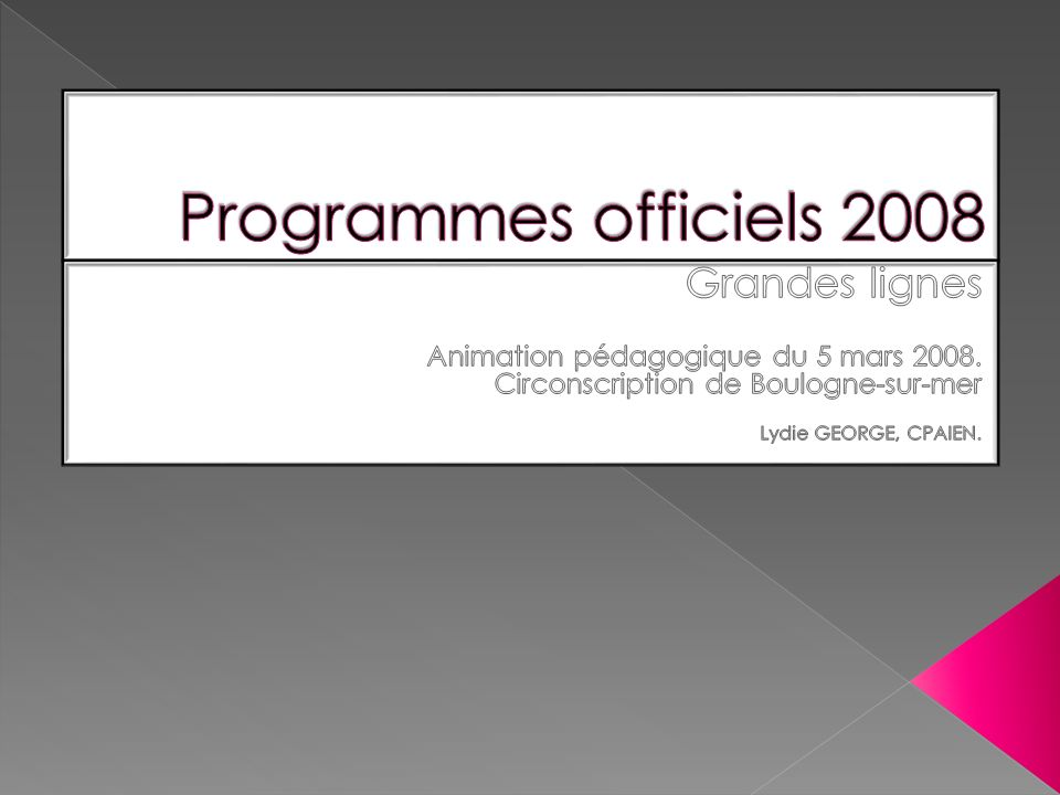 Le 20 février dernier, Xavier Darcos a présenté les nouveaux programmes pour lEcole Primaire à la presse.