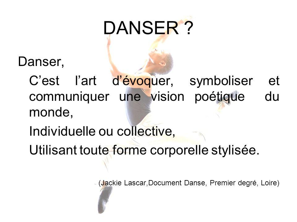 DANSER ? Danser, Cest lart dévoquer, symboliser et communiquer une vision poétique du monde, Individuelle ou collective, Utilisant toute forme corpore