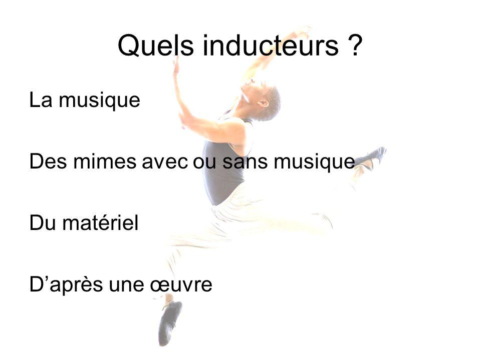 Quels inducteurs ? La musique Des mimes avec ou sans musique Du matériel Daprès une œuvre
