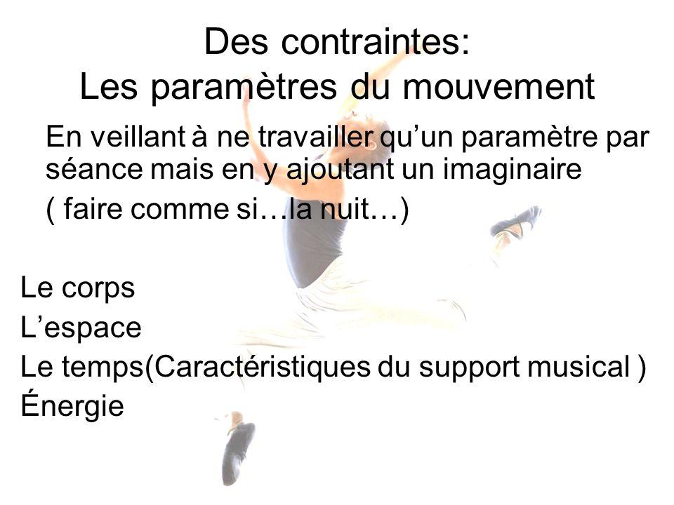 Des contraintes: Les paramètres du mouvement En veillant à ne travailler quun paramètre par séance mais en y ajoutant un imaginaire ( faire comme si…l