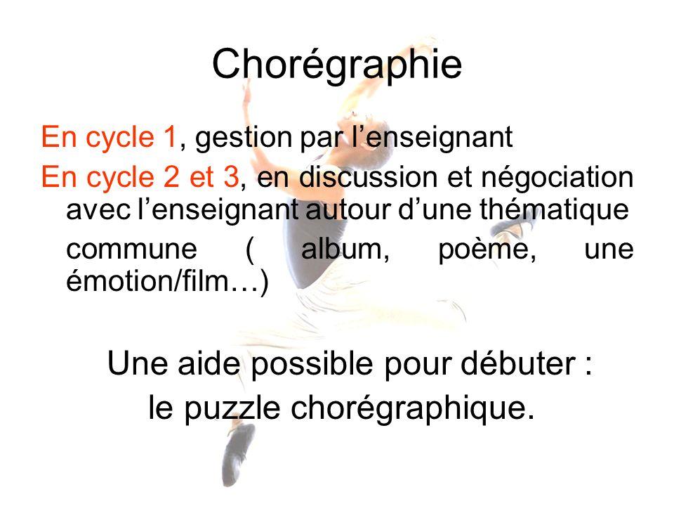 Chorégraphie En cycle 1, gestion par lenseignant En cycle 2 et 3, en discussion et négociation avec lenseignant autour dune thématique commune ( album